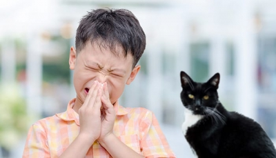 Boy with allergies next to cat