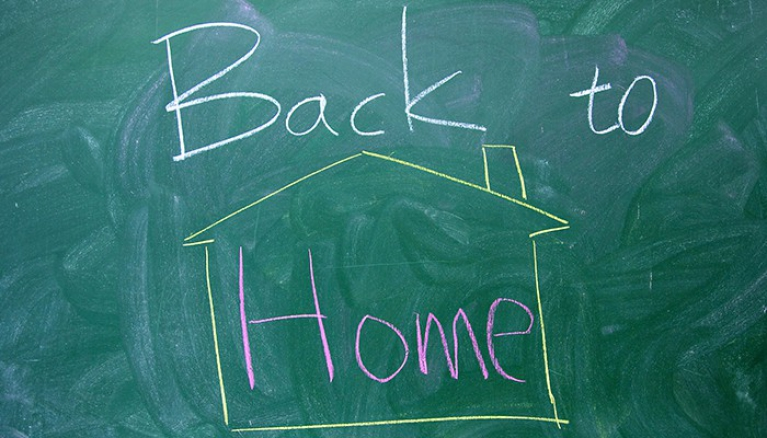 Back to home (written on blackboard)