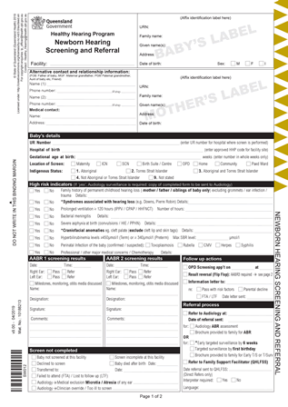 Healthy Hearing Program referral form page 1